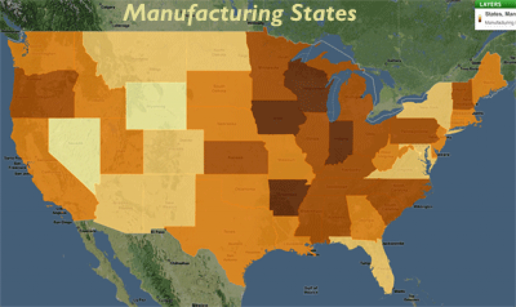 Maps Of United States Manufacturing And Finance Industry within United States Industry Map