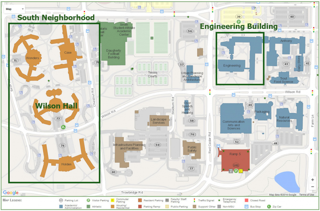 Maps & Parking | College Of Engineering, Michigan State University throughout Michigan State Football Parking Lot Map