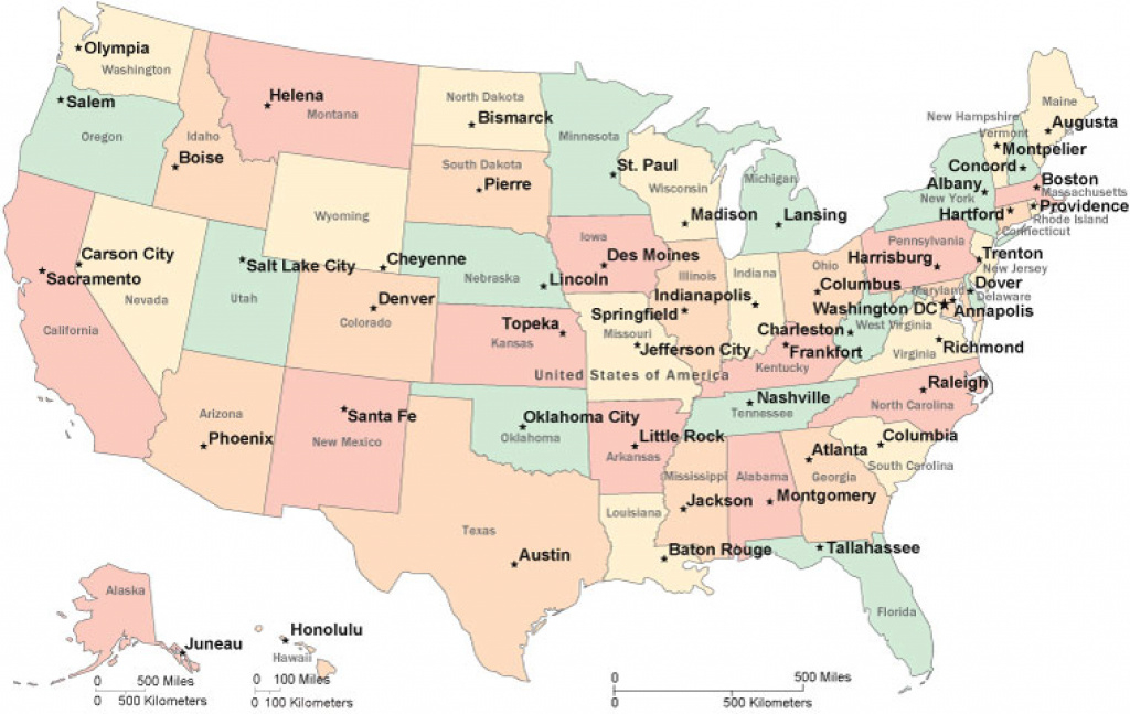Maps United States Capitals And Travel Information   Download Free pertaining to Us Map With State Capitals