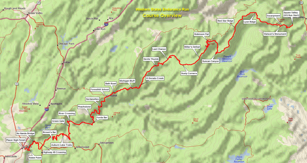 Maps – Western States Endurance Run inside Western States 100 Course Map
