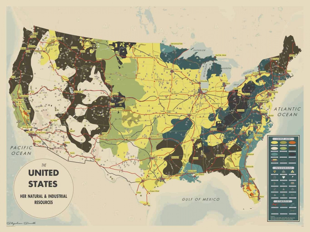 Mapsmiththe United States: Her Natural And Industrial Resources in United States Resource Map