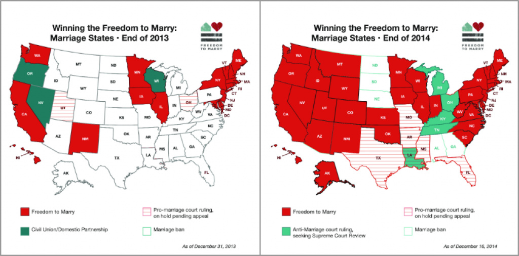 Marriage Equality's Big Year, In 2 Maps - Vox inside Map Of Gay Marriage States 2014