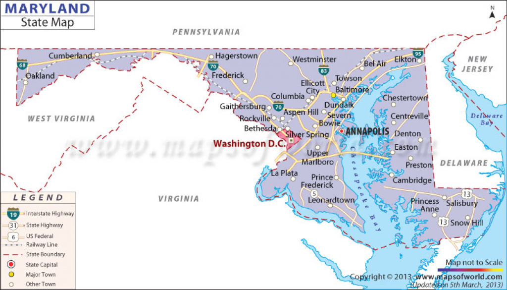 Maryland State Map in Map Of Maryland And Surrounding States