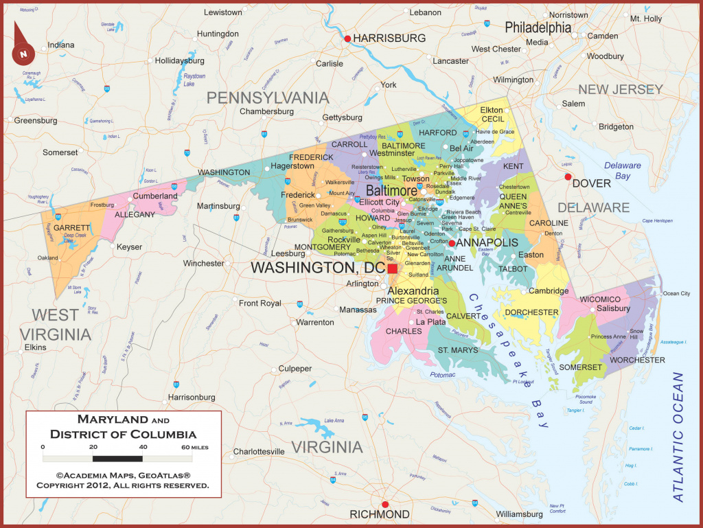 Maryland Wall Map - Political with regard to Map Of Maryland And Surrounding States