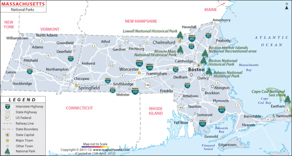 Massachusetts National Parks Map intended for Massachusetts State Parks Map