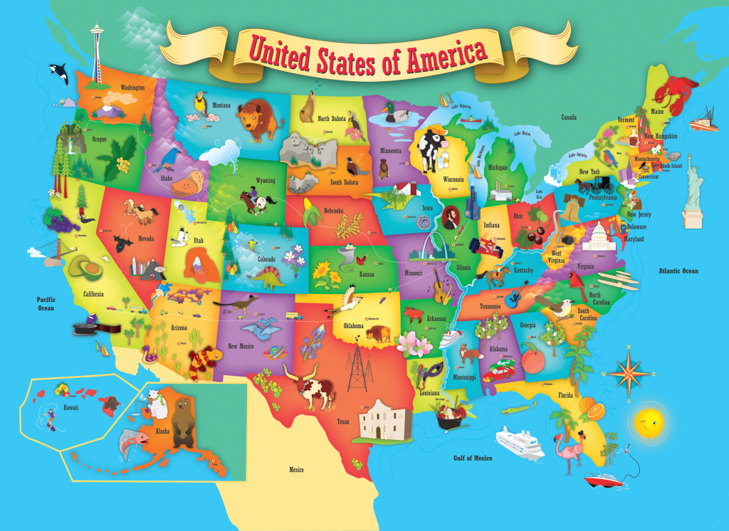 Masterpieces Explorer Kids - Usa Map - 60 Piece Kids Puzzle in United States Map For Kids