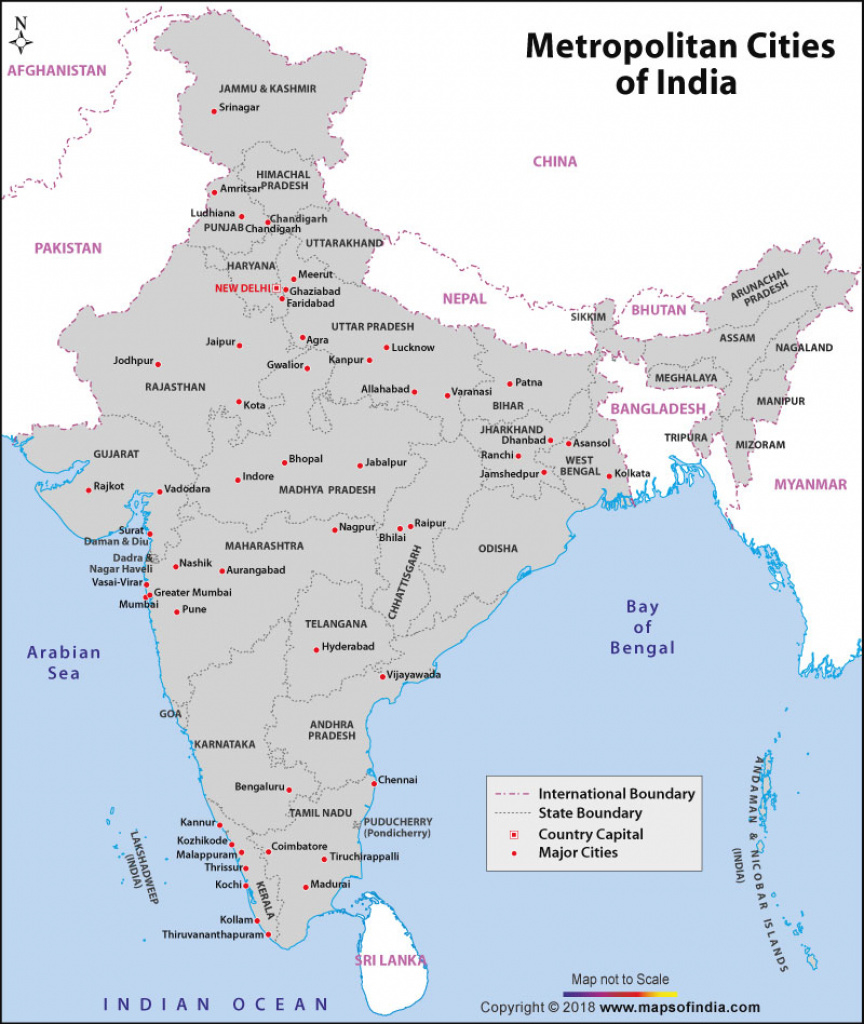 Metropolitan Cities In India, Major Cities Of India throughout Map Of India With States And Cities