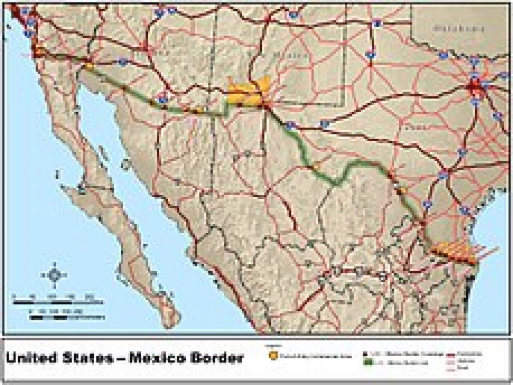 Mexico–United States Border - Wikipedia within Mexico And The United States Map