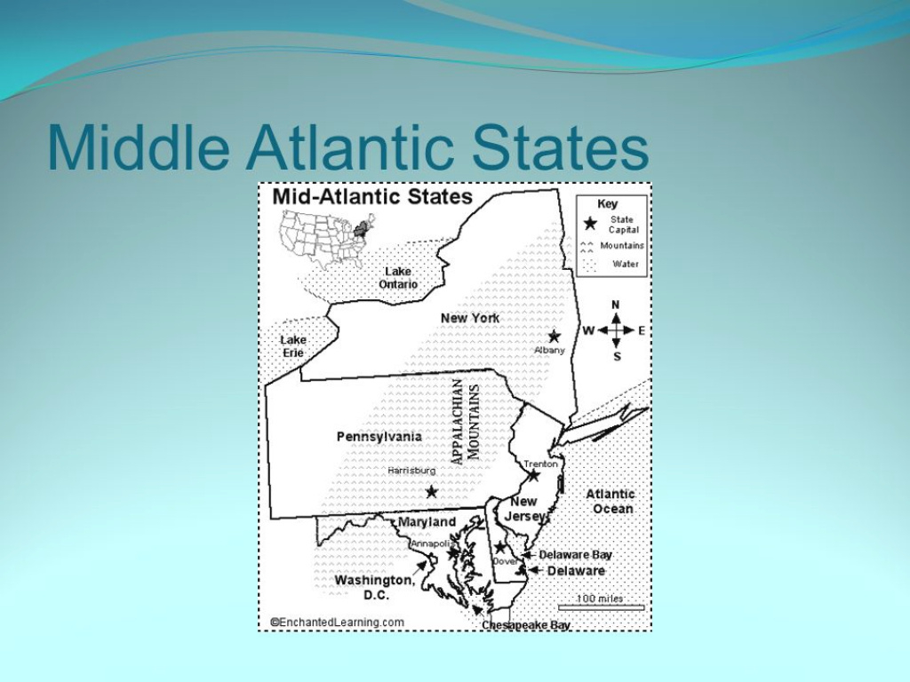 Middle Atlantic States. States And Capitals New York (Ny for Mid Atlantic States And Capitals Map