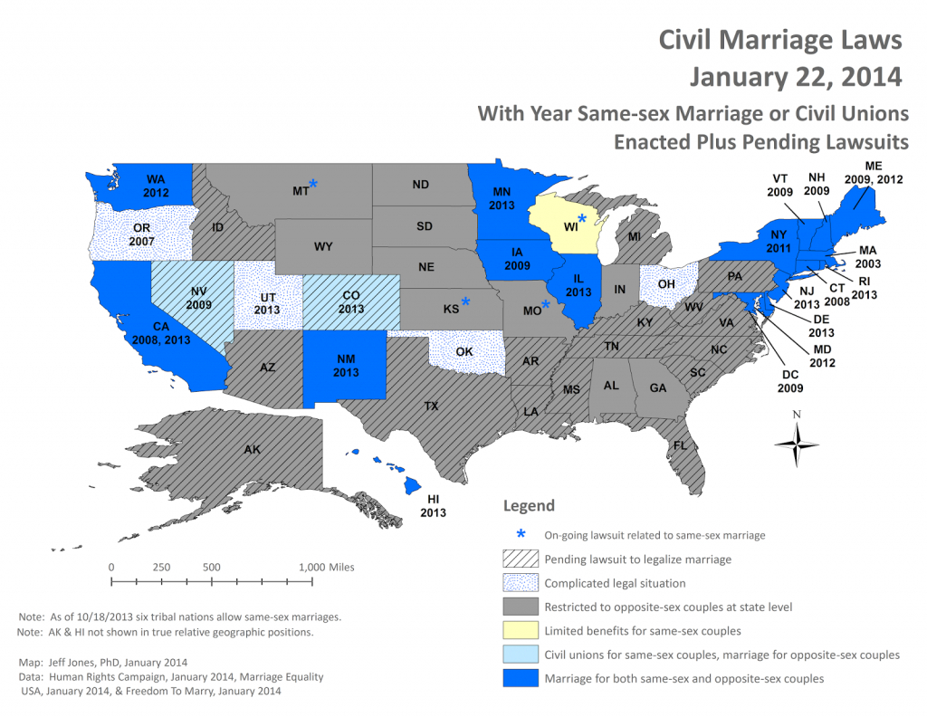 Middling America: And Florida Joins The Same-Sex Marriage Fight intended for Map Of Gay Marriage States 2014