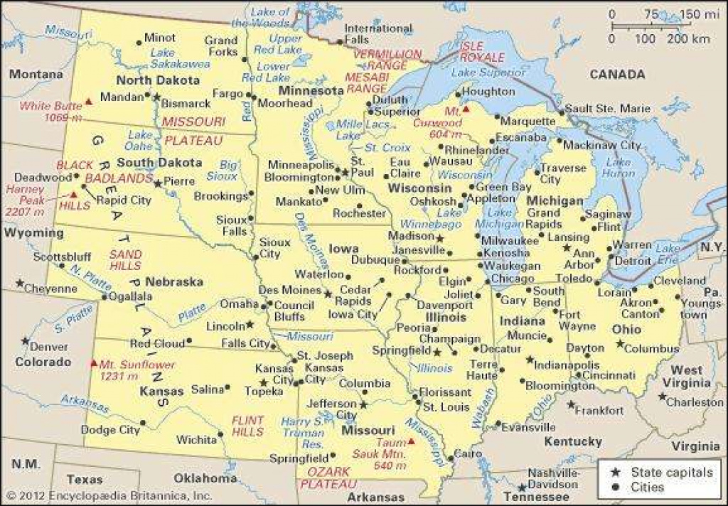 Midwest | History, States, Map, & Facts | Britannica intended for Map Of Midwest States With Cities
