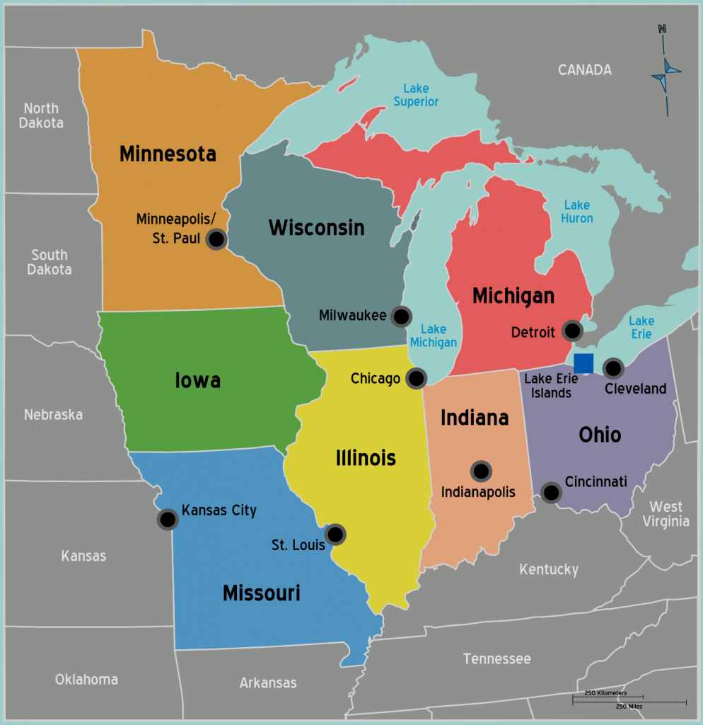 Midwest Map With Major Cities Map City Us Political Map Cities New pertaining to Map Of Midwest States With Cities