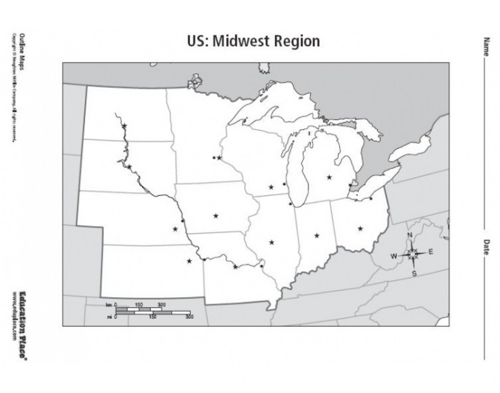 Midwest States And Capitals Map Blank Of United Outstanding within Blank Map Of Midwest States