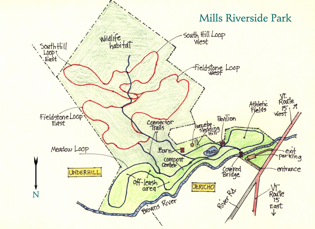 Mills Riverside Park: Trail Map with Underhill State Park Trail Map