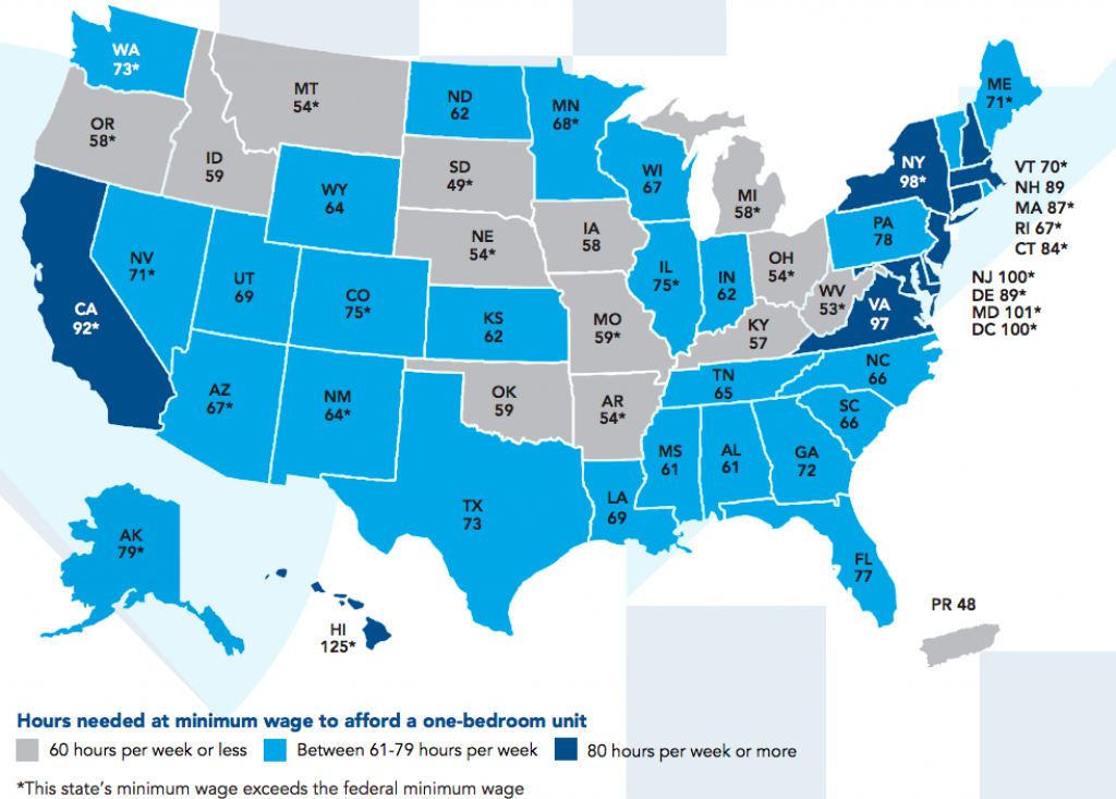 Minimum Wage Earners Have To Work 77 Hours A Week To Afford An throughout Outline Map The States Choose Sides