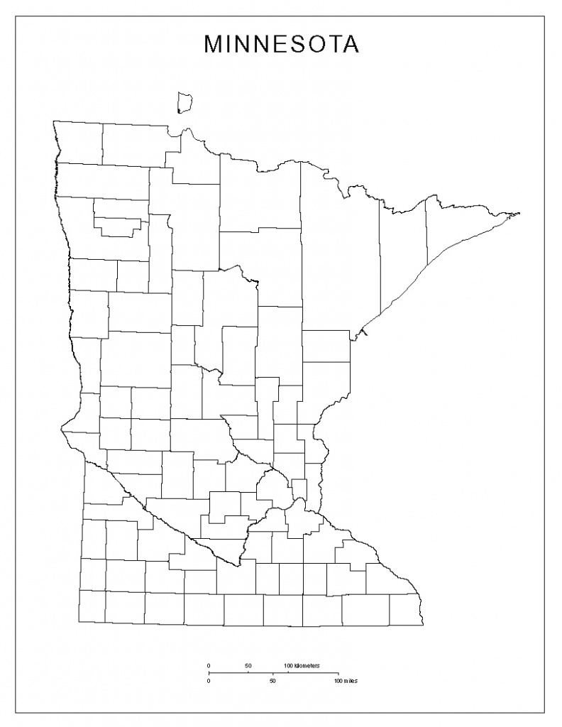 Minnesota Blank Map in Minnesota State Map With Counties