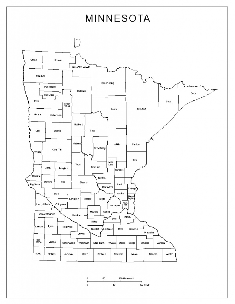 Minnesota Labeled Map in Minnesota State Map With Counties