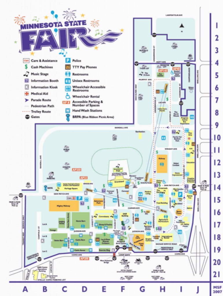 Minnesota State Fair Map - 1265 Snelling Ave N St Paul Mn 55108 inside State Fairgrounds Map