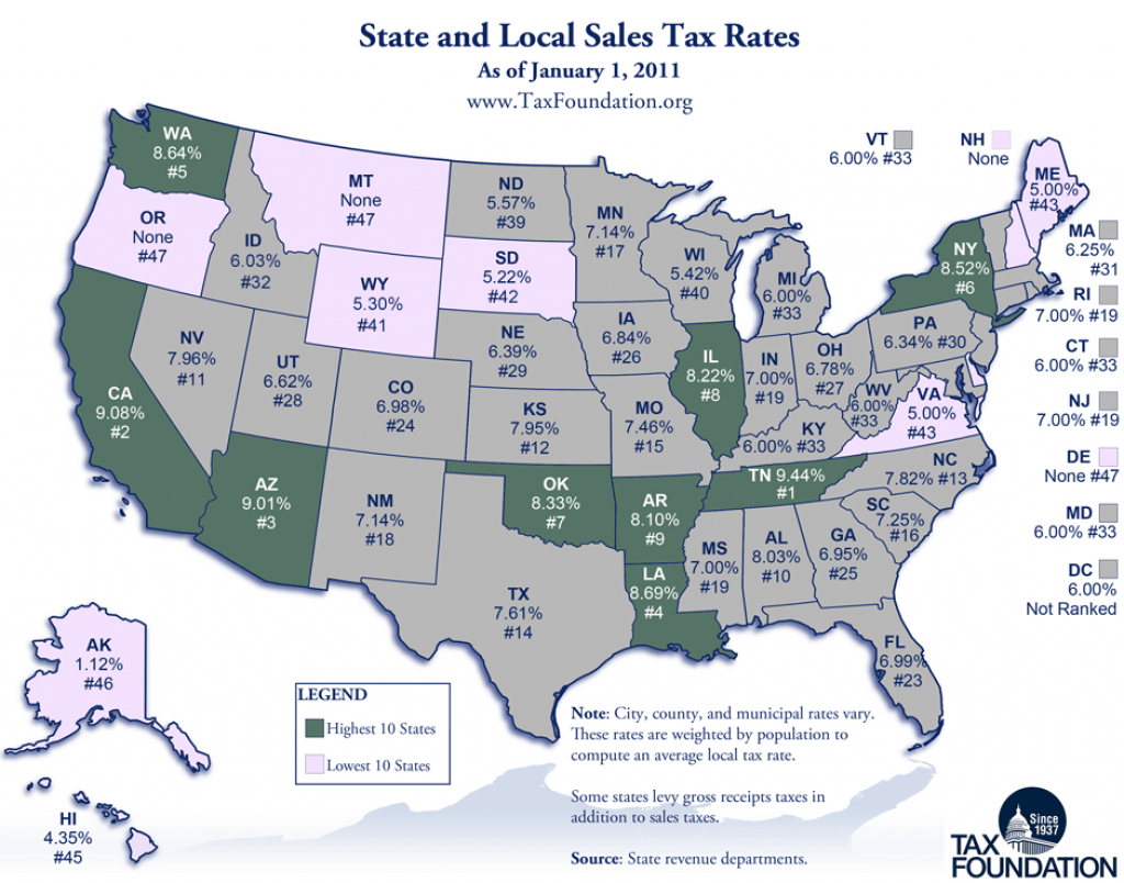 Monday Map: State And Local Sales Tax Rates, 2011 - Tax Foundation with State Population Map