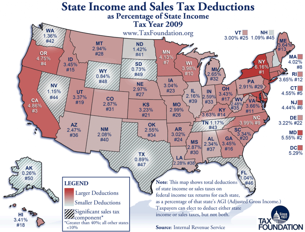Monday Map: State Income And Sales Tax Deductions - Tax Foundation within States With No Income Tax Map