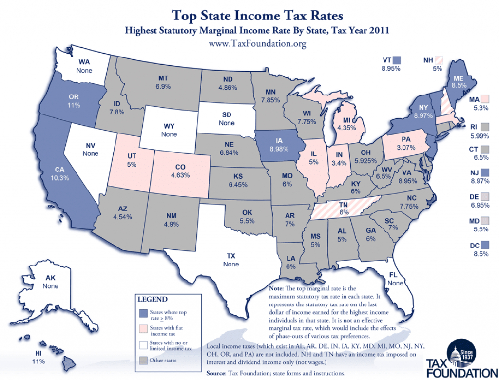 Monday Map: State Income Tax Rates for State Income Tax Map