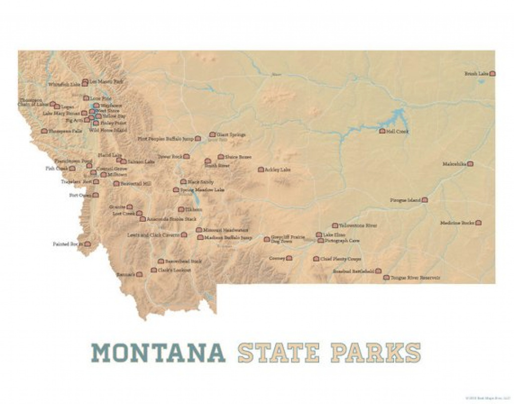 Montana State Parks Map 11X14 Print   Etsy with Montana State Parks Map