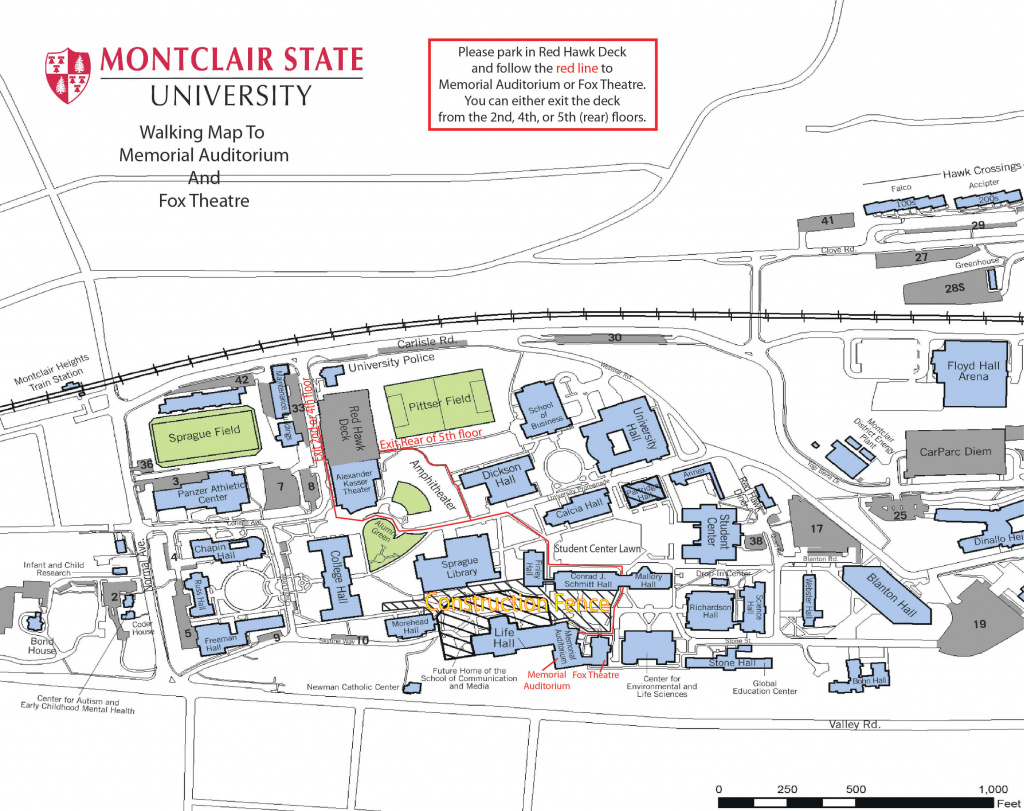 Montclair State University Campus Map | Helderateliers throughout Montclair State University Parking Map