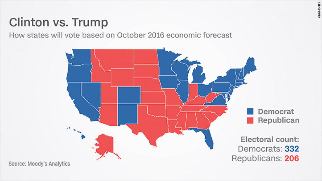 Moody's Analytics Model Predicts Big Clinton Win in States Hillary Won Map