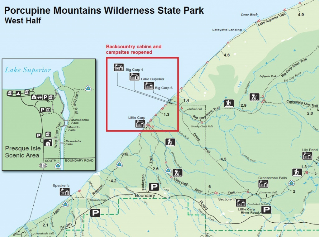 Most Backcountry Cabins And Campsites Reopened At Porcupine Mountains inside Map Of Porcupine Mountains State Park