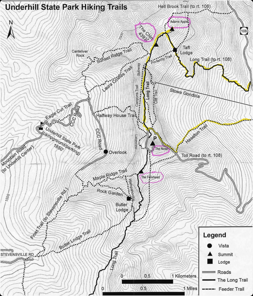 Mount Mansfield (Vt, 4000) - Trailsnh Hiking Conditions with Underhill State Park Trail Map