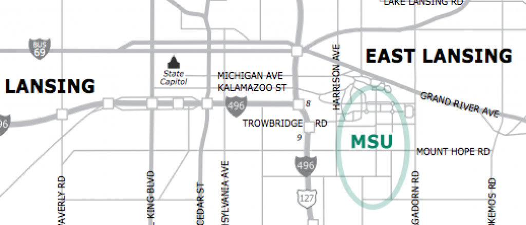 Msu Campus Maps - Michigan State University in Michigan State Football Parking Lot Map