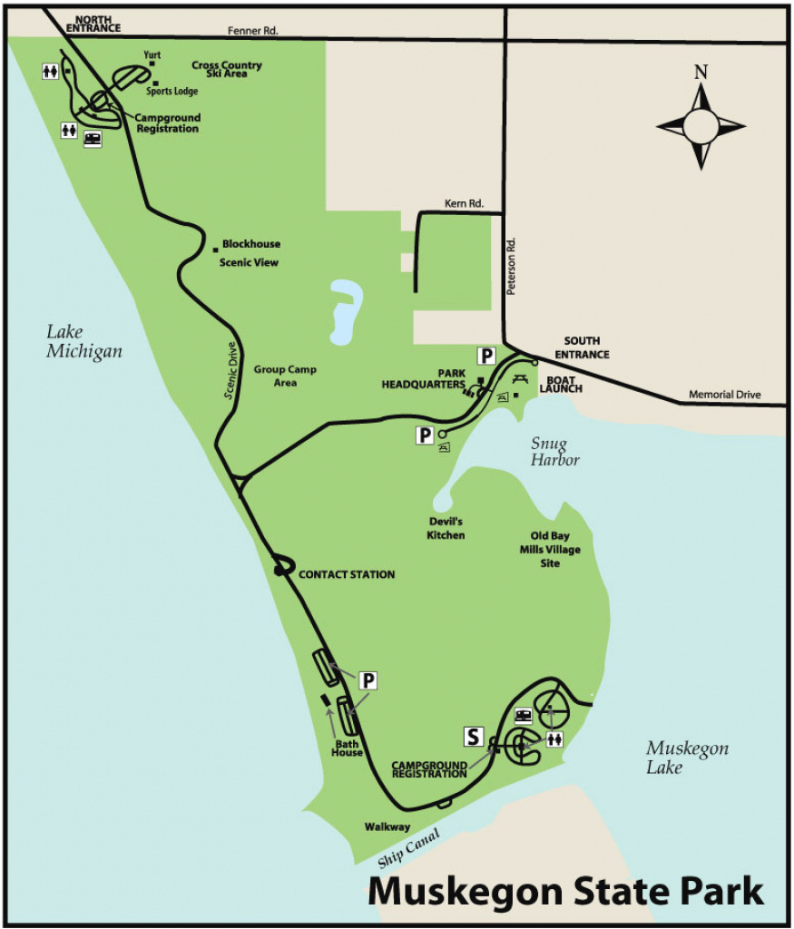 Muskegon & Duck Lake State Parksmaps & Area Guide - Shoreline with Duck Lake State Park Trail Map