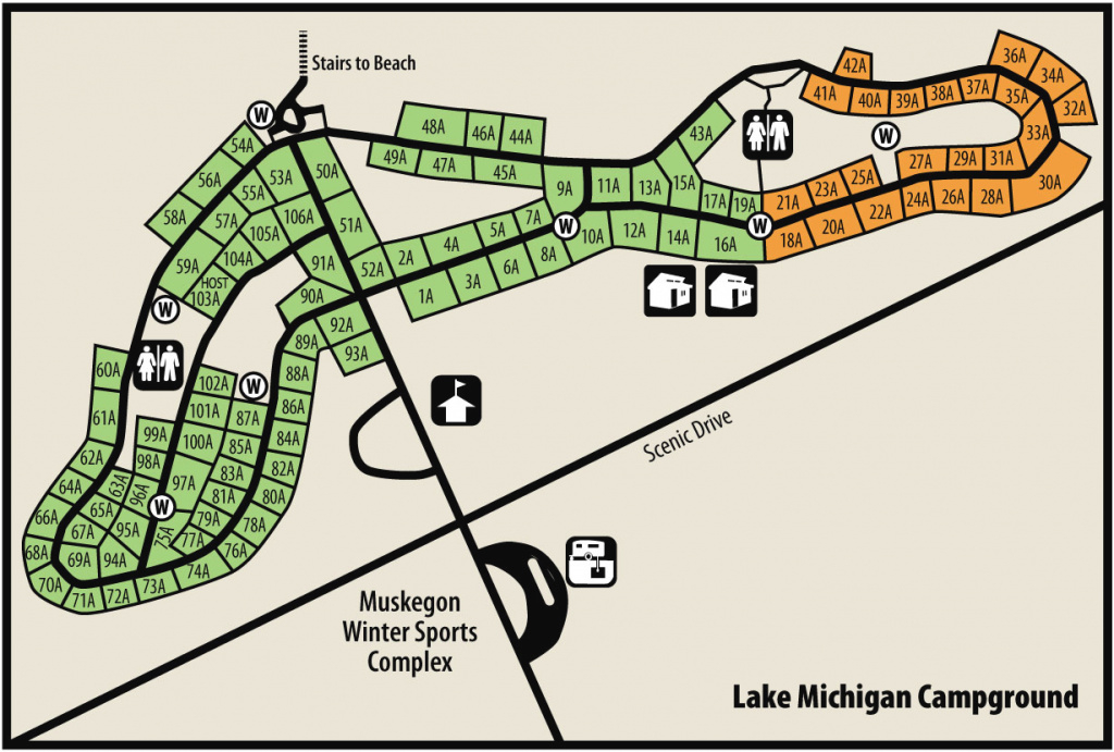 Muskegon & Duck Lake State Parksmaps & Area Guide - Shoreline with regard to Muskegon State Park Campground Map