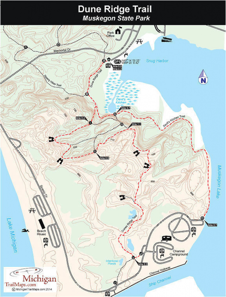 Muskegon State Park: Dune Ridge Trail in Muskegon State Park Campground Map