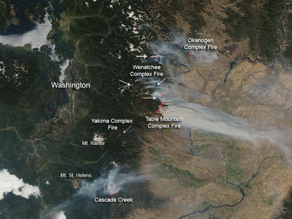 Nasa - Wildfires In Washington State pertaining to Wa State Wildfire Map