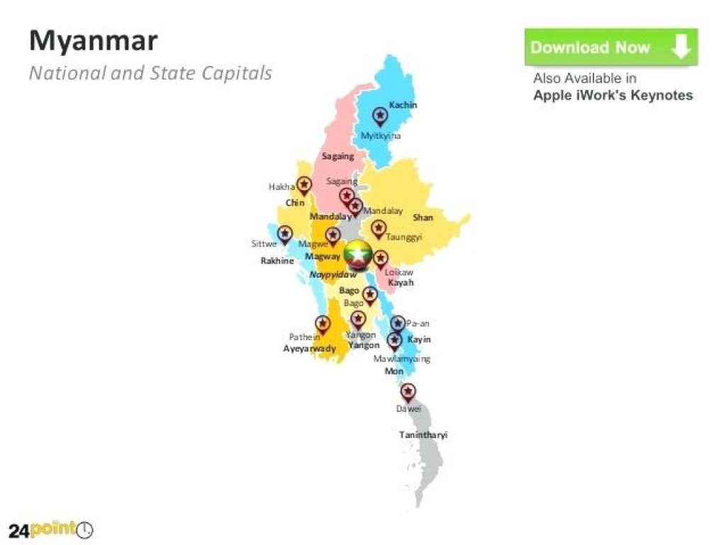 National And State Myanmar Map With States Cities – Wineandmore for Map Of Myanmar States And Regions