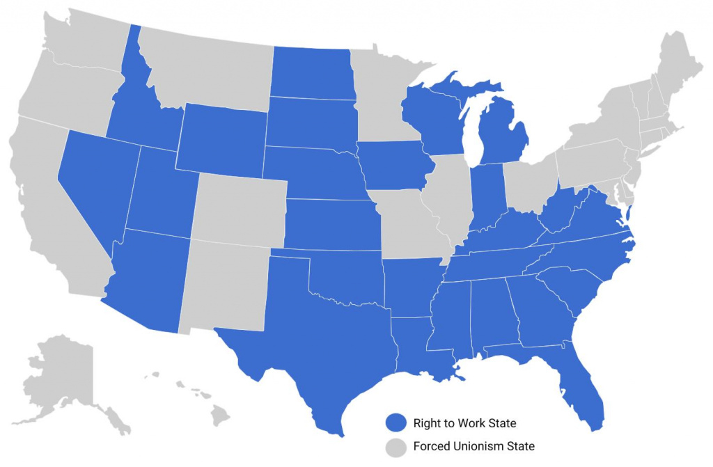 National Right To Work Foundation » Right To Work States throughout Map Of Right To Work States