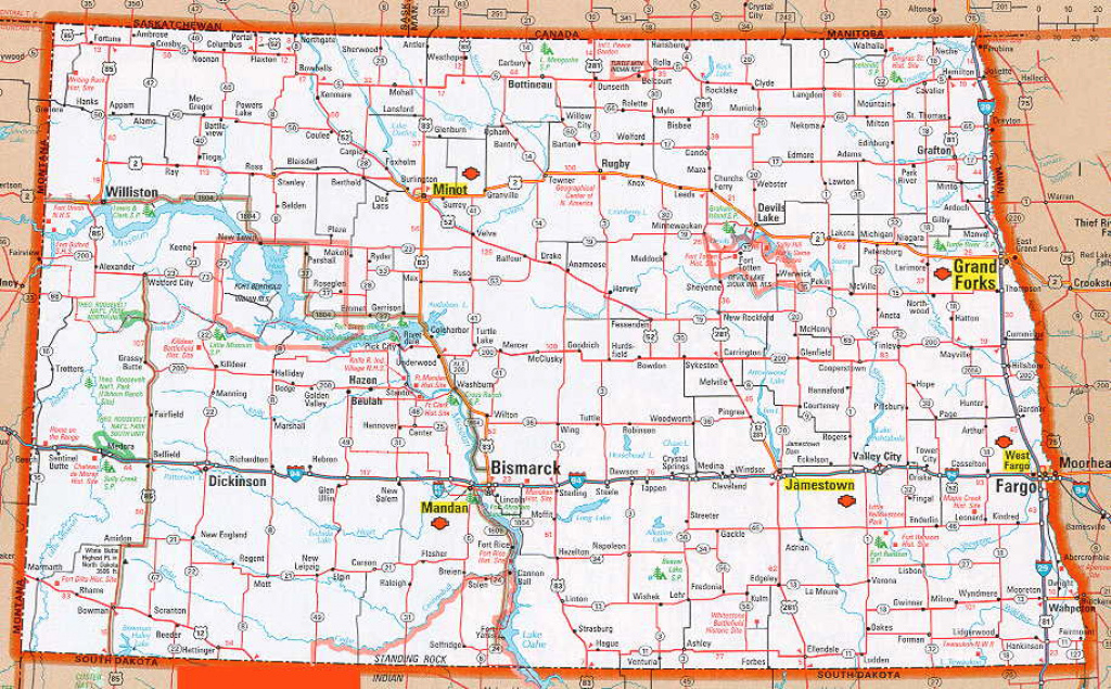 Nd State Map And Travel Information | Download Free Nd State Map within North Dakota State Highway Map