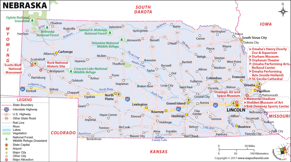 Nebraska Map, Map Of Nebraska, Ne Map pertaining to Map Of Nebraska And Surrounding States