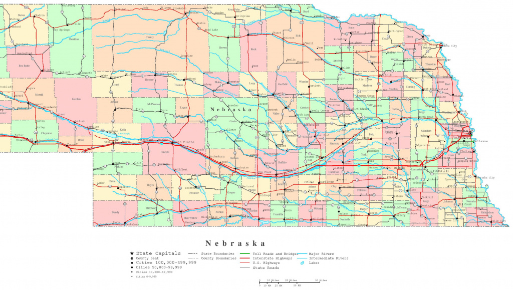 Nebraska Printable Map inside Printable State Road Maps