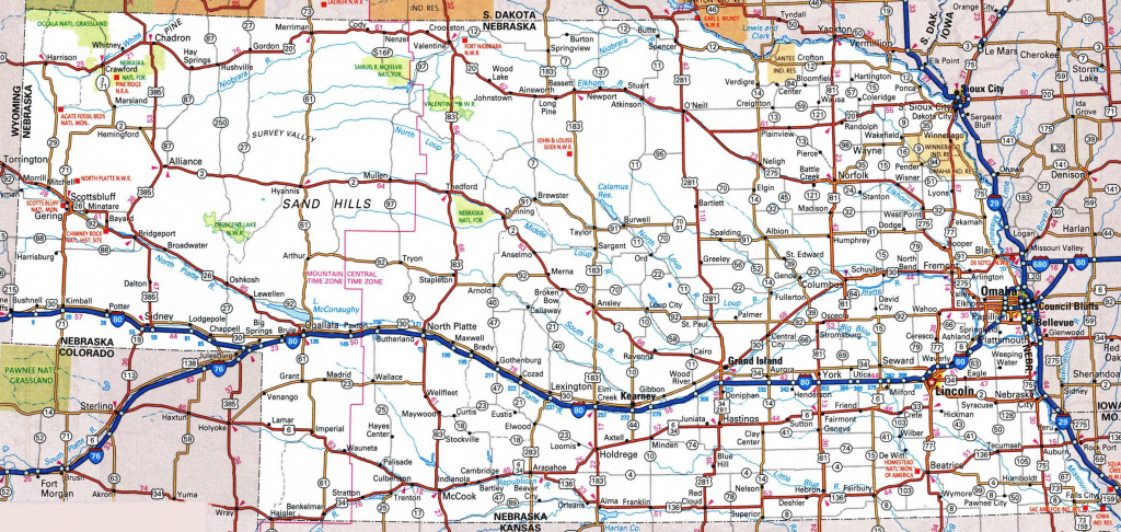 Nebraska Road Map throughout Printable State Road Maps