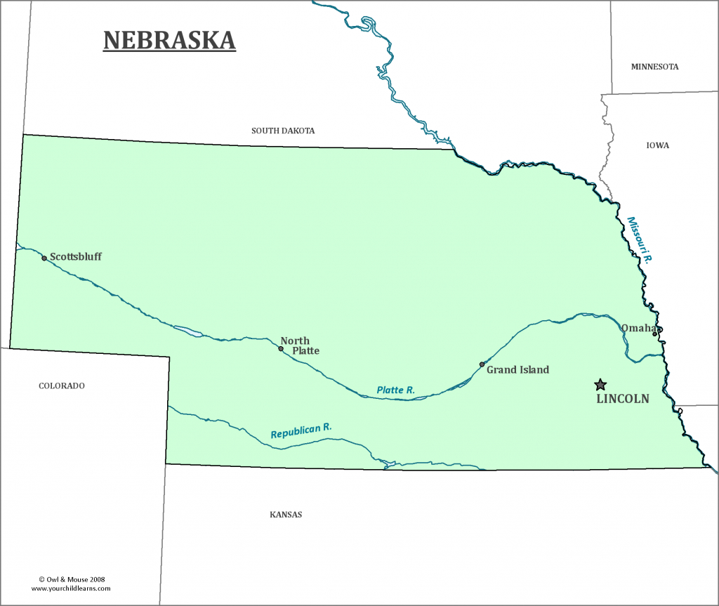 Nebraska State Map - Map Of Nebraska And Information About The State throughout Map Of Nebraska And Surrounding States