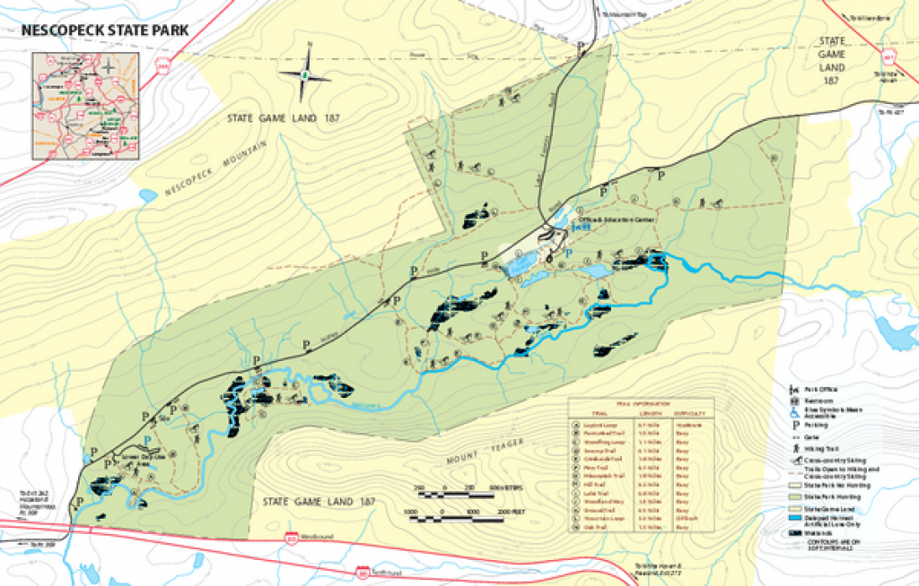 Nescopeck State Park Map - Drums Pa 18222 • Mappery throughout Hickory Run State Park Trail Map