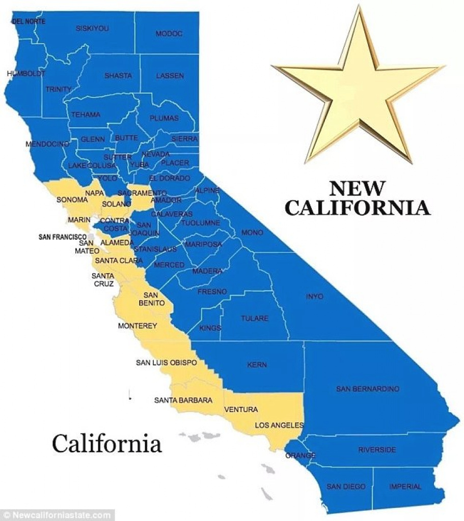 New California Call To Split State In 2, Rural And Coastal | Daily with regard to Splitting California Into Two States Map