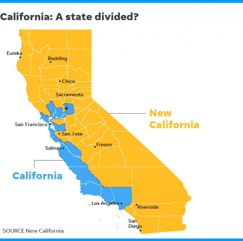 New California Declares Independence From California In Statehood Bid throughout Splitting California Into Two States Map