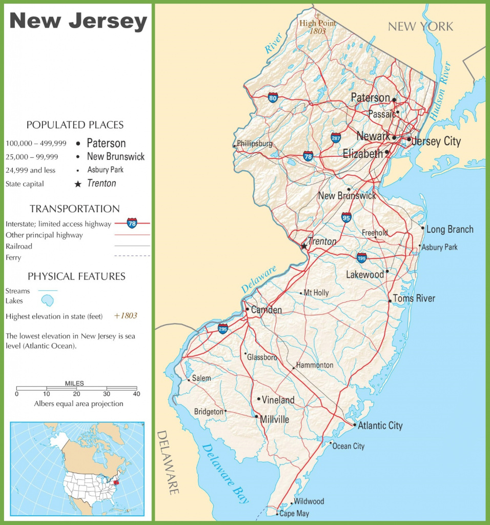New Jersey Highway Map throughout Map Of New Jersey And Surrounding States