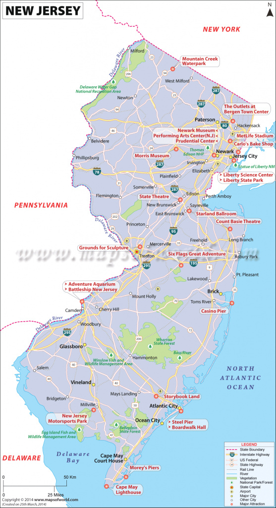 New Jersey Map, Map Of New Jersey (Nj) Usa for Nj State Parks Map