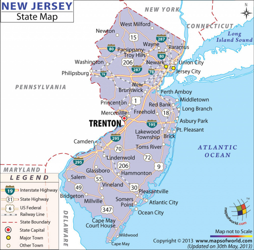 New Jersey State Map inside Map Of New Jersey And Surrounding States