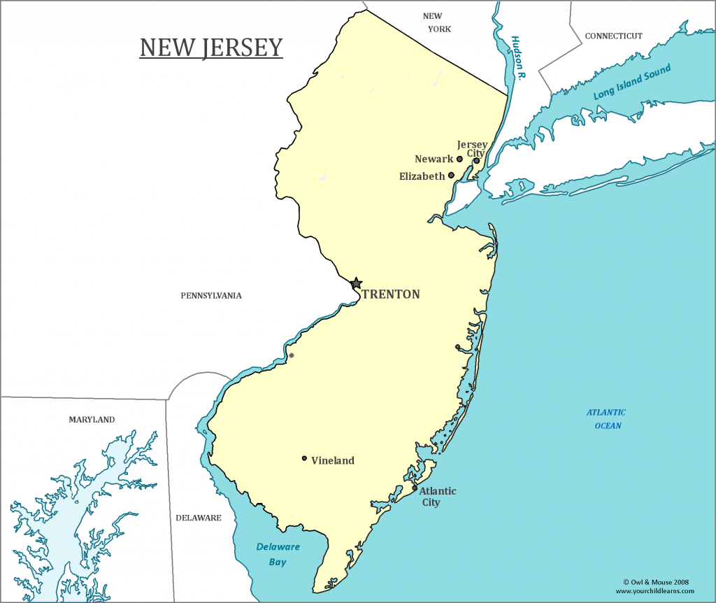 New Jersey State Map - Map Of New Jersey And Information About The State intended for Map Of New Jersey And Surrounding States