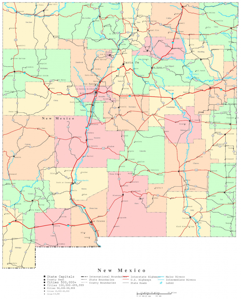 New Mexico Printable Map within New Mexico State Map Images